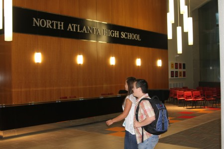 Students walk to their first class at North Atlanta High's new campus.