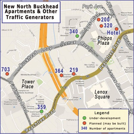 North Buckhead Civic Association President Gordon Certain says if 2,500 apartment units are built in his neighborhood, traffic volume on Lenox Road will increase 25 percent.