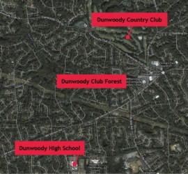 The Dunwoody Club Forest subdivision can be found between Mount Vernon Road and Dunwoody Club Drive.