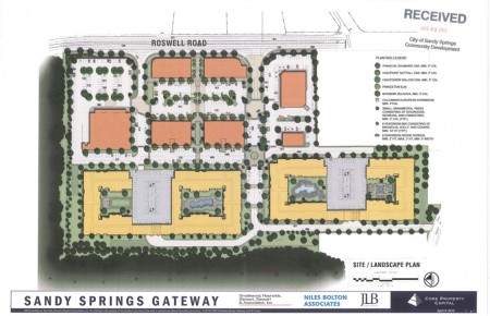 The drawing shows revised plans for the development at the intersection of Windsor Parkway and Roswell Road near Chastain Park. These plans were created when the proposal was 700 units, not the 630 approved by Sandy Springs.