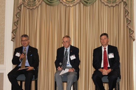 Left to right: Chuck Altimari, vice president of UPS; Louis Miller, general aviation manager for Hartsfield Jackson International Airport; and Griff Lynch, Chief Operating Officer of the Georgia Ports Authority during a panel discussion at the Perimeter Business Association's Sept. 20 meeting.