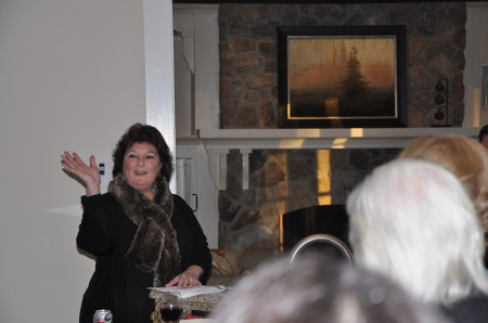 District 6 Sandy Springs City Councilwoman Karen Meinzen McEnerny addresses supporters during a farewell party on Nov. 24 in Sandy Springs.