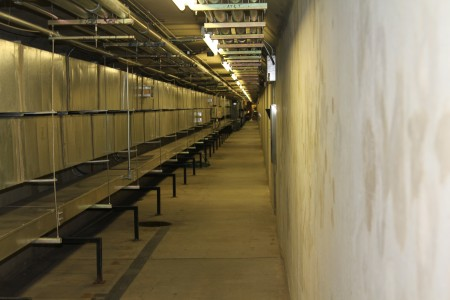 Coins paid in tolls on Ga. 400 fall into locked boxes in this service tunnel beneath the  toll plaza.