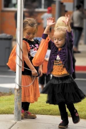 St. Martins Episcopal School; Saturday October 19, 2013 12:30pm Fall Festival sponsored by the  Parent Teacher Organization. Eva Hayek (2yr) [purple], and sister Elyse Hayek (3yr) [kitty].