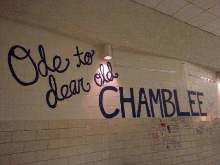 Painted lettering on the cafeteria wall at Chamblee.