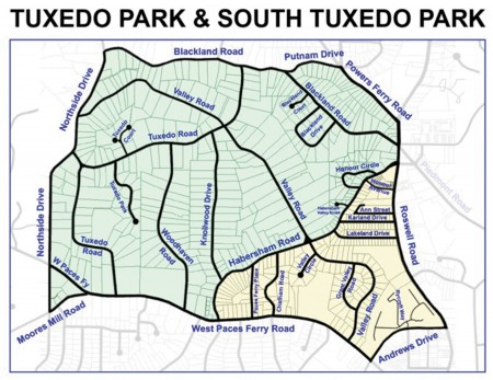 A map showing the boundaries of Tuxedo Park in Buckhead