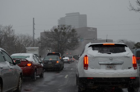 Traffic gridlocked on Hammond Drive in Sandy Springs and Dunwoody during the Jan. 28 snowstorm. Photo by Joe Earle