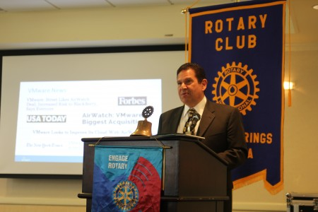 David Dabbiere, chief operating officer of Airwatch, speaks to the Sandy Springs Rotary Club Feb. 3.