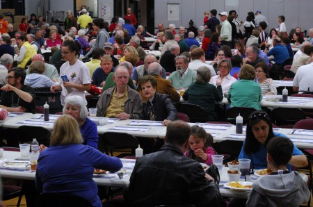 The crowd at the All Saints Catholic Church fish fry in Dunwoody on March 14.