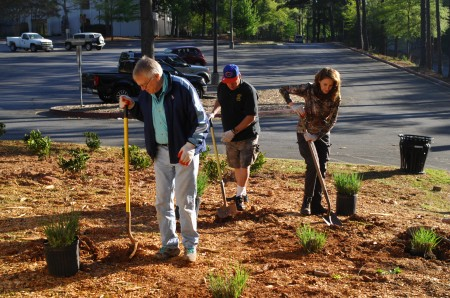 Left to right, volunteers Jon Ehrlich, Bobby Smith and Maggie Erlich plant ground cover at the Big Trees Forest as part of the 12th annual Volunteer for a Better Sandy Springs day on Saturday.