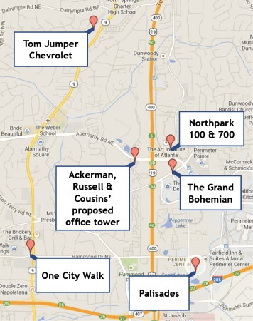 One City Walk plans to break ground in June; Ackerman, Russell & Cousins propose a 30-story office tower; the Northpark 100 and 700 projects await tenants; Palisades has approval to add retail and apartments; The Grand Bohemian is still in limbo; and the Tom Jumper site is inactive. Image via Google Maps