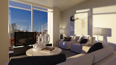 A rendering of the 15th floor living room space of a two-unit apartment.
