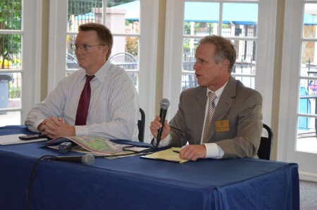 City Councilmen John Heneghan, left, and Doug Thompson talk to residents during the May 29 Citizens Connection meeting in Dunwoody's District 3.