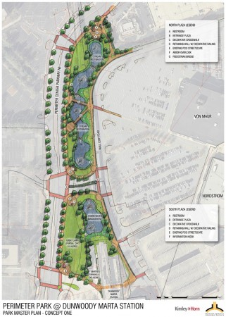 Two Master Plans have been proposed. Master Plan 1, above, offers an information kiosk and Master Plan 2 (below) offers a water feature at the south entrance.