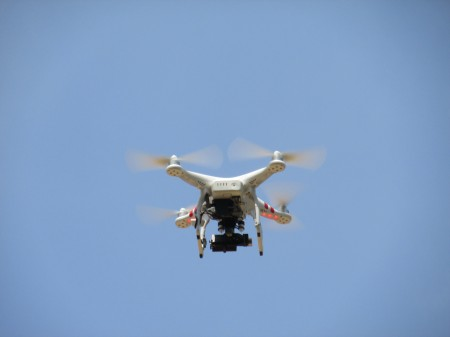 The drone takes flight.