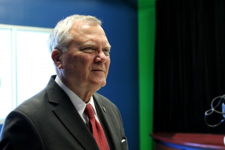 Gov. Deal visits the media center at Chamblee Charter High School Aug. 13. Photo by Ellen Eldridge