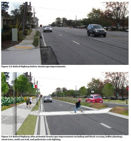 Above, a current snapshot of a stretch of Buford Highway. Below, an artist's rendering of proposed landscape and other physical improvements. Credit: City of Brookhaven