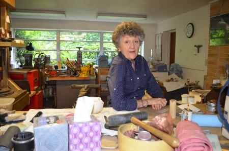 Metalsmith Julia Woodman in her art studio.