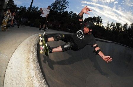 Robb Hart skates at Brook Run Skate Park in March 2013. He and business partner Ian Awtberry just won a contract with the City of Dunwoody to run a concession stand, but their focus will be on offering programming and special events for the skate community.