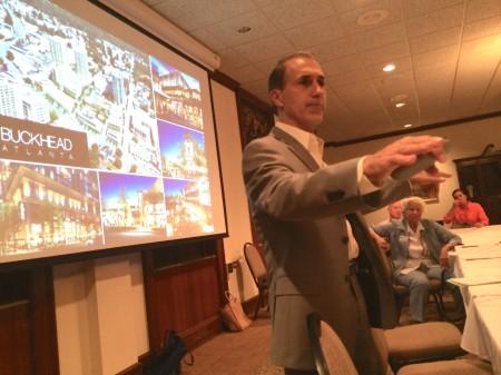 Buckhead Atlanta General Manager Michael Diamantides speaks to the Buckhead Council of Neighborhoods.