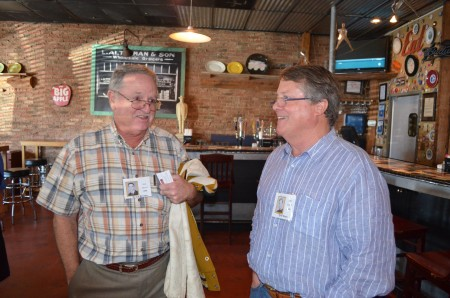 Left, Bruce Brooks and Tyler Dixon chat during their 50th high school reunion on Oct. 10.