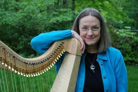 Angi Bemiss plays the harp twice a week at Northside Hospital.