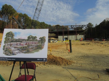The new Heards Ferry Elementary School is scheduled to open next year on Powers Ferry Road.