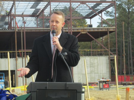 Patrick Burke, deputy superintendent of operations for Fulton County Schools, talks about progress on the future Heards Ferry Elementary School.