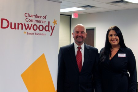 Incoming Board of Directors Chair Brent Morris and President and CEO Stephanie Snodgrass during the Dunwoody Chamber of Commerce annual meeting Nov. 18.