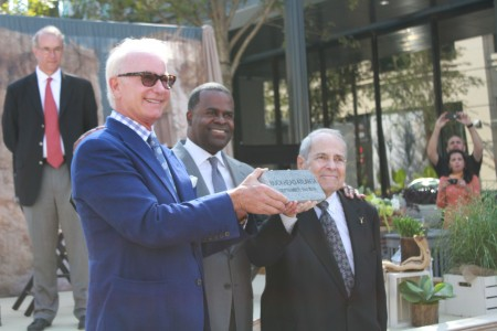 Front,OliverMcMillan's Dene Oliver, center, Atlanta Mayor Kasim Reed and right, Buckhead Coalition President Sam Massell, officially opened the first shops at Buckhead Atlanta.