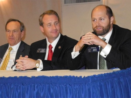 Sens. Fran Millar, John Albers and Hunter Hill, left to right, discuss transportation issues during a Legislative Forum hosted by the Rotary Club of Sandy Springs on Dec. 15.