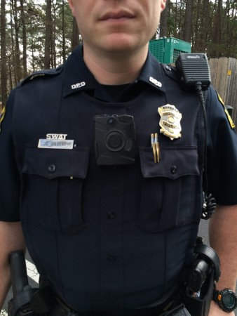 Dunwoody Police Officer Caleb Gilbert wears an on-body camera.