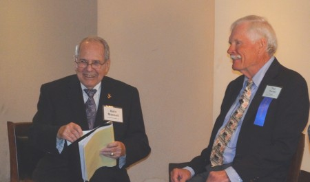 Buckhead Coalition president Sam Massell, left, questions Ted Turner during the coalition's annual meeting Jan. 28.