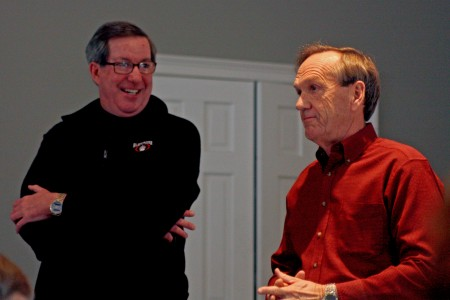 Rep. Tom Taylor, left, and Sen. Fran Millar speak to the Dunwoody Homeowners Association on Jan. 11 regarding the issue of creating new city school districts.