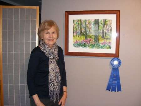 """Betsy Cozine earned a first place award for """"Beauty of Gibbs Gardens,"""" her watercolor now on display at the Oglethorpe University    Museum of Art."""