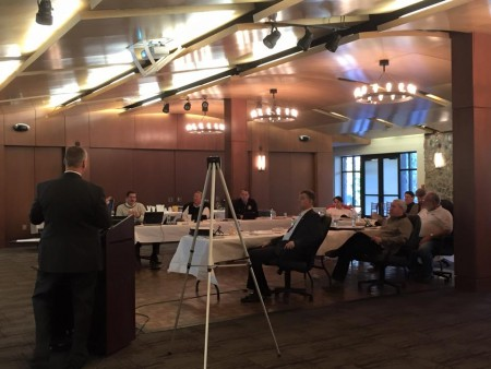 """City Manager John McDonough speaks to the City Council at its annual retreat on Jan.27. McDonough said the city should consider making changes to its Comprehensive Plan, adopted in 2007, to address a """"post-recession inundation of growth."""""""