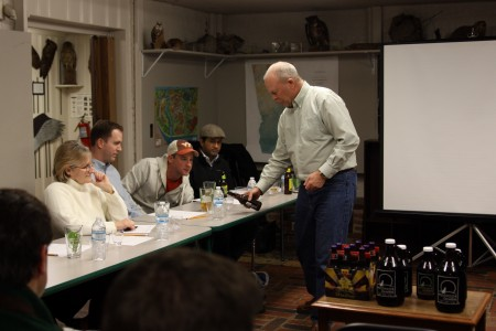 Dunwoody Mayor Mike Davis pours beer samples for the first beer-making class at Dunwoody Nature Center on Jan. 22.