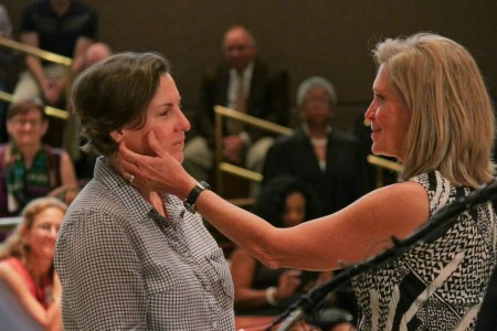 Melinda Brewer and Joan Crumpler tied the knot in a mass wedding ceremony at the Fulton County Courthouse  (Photo by Isadora Pennington)