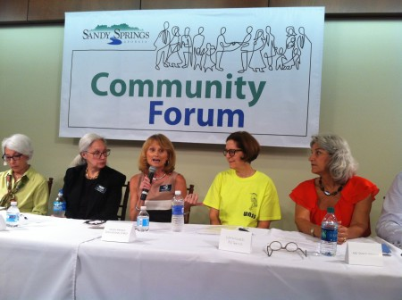 Irene Schweiger of the Sandy Springs Education Force, center, addresses the community forum. The others, left to right, are Linda Bain, Sandy Springs Conservancy; Trisha Thompson Fox, Sandy Springs Council of Neighborhoods; Sherry Epstein, Watershed Alliance of Sandy Springs; and Cheri Morris, Art Sandy Springs.
