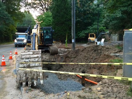 The water main broke at Henderson Mill and Evans roads. (Courtesy DeKalb County)