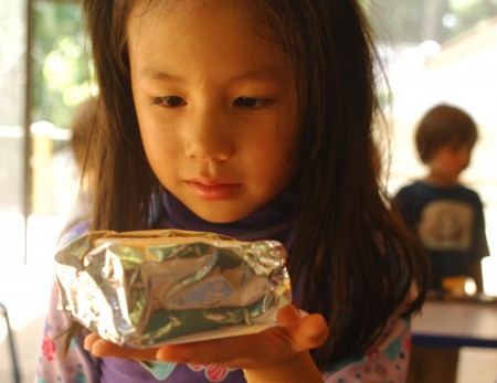 """During Dunwoody Nature Center's """"Mad Scientist"""" camp, Emily Grumboski, age 5, examines a s'more wrapped in foil that will cook with solar power."""