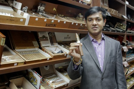 Shafi Hai, owner of Churchill Fine Cigars in Sandy Springs, opened his store in 2013. The shop features a smoking lounge with leather couches, a cedar-paneled, walk-in humidor and private lockers.