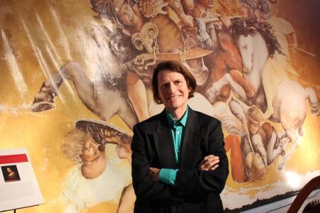 """Mark Rodgers in front of Leonardo Da Vinci's """"Battle of Anghiari."""""""