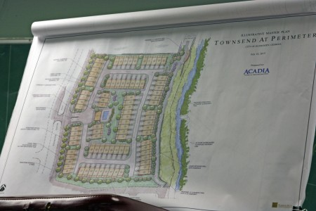 The illustration of 87 planned Acadia Homes townhomes shown to the Dunwoody Homeowners Association July 12.