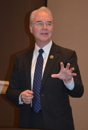 U.S. Rep. Tom Price (R-Roswell) talks with members and guests of the Perimeter Business Alliance on Aug. 28.