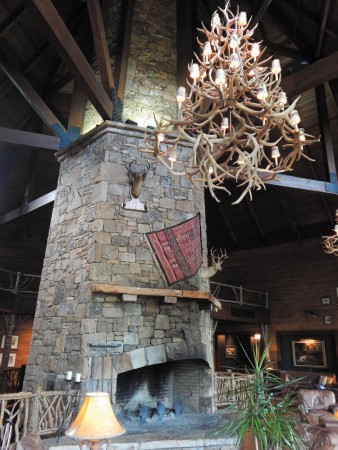 Brasstown Valley Resort's rustic lobby.
