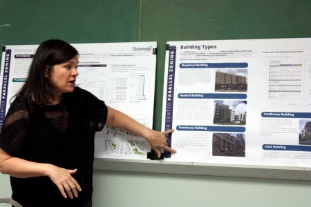 Leslie Oberholtzer points out to the Dunwoody Homeowners Association Aug. 2 different building types that may exist in a Perimeter Center zoning code.