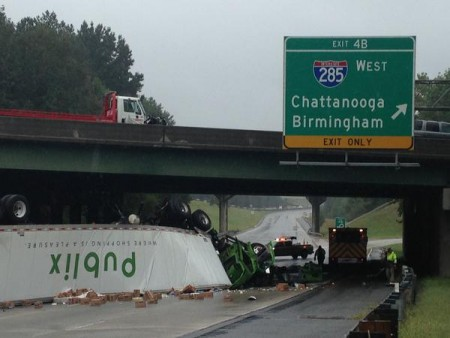 One of the trucks involved in the Sept. 25 crash in a photo tweeted by the Sandy Springs Police Department.