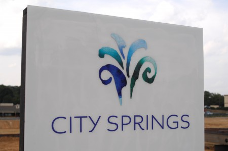 The new City Springs logo as revealed at the Sept. 20 ceremony. (Photo by Phil Mosier)