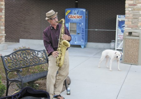 Sonny Calo on his saxophone one evening at the Georgetown Shopping Center.